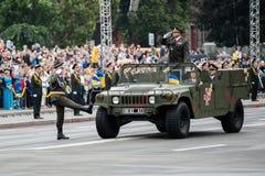 Défilé militaire pour le Jour de la Déclaration d'Indépendance ukrainien Image libre de droits