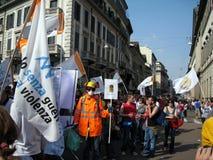 DÉFILÉ POLITIQUE DE JOUR DE LIBÉRATION. MILAN, ITALIE Photos libres de droits