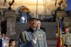 Défilé roumain d'armée à Bucarest, Roumanie Photographie stock