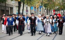 Défilé suisse de jour national à Zurich Image libre de droits