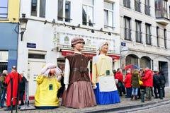 Défilé traditionnel de Saint Nicolas à Bruxelles Image libre de droits