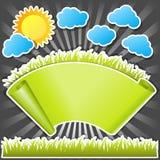 Défilement de papier avec l'herbe verte Photos stock