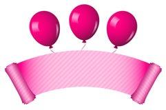 Défilement rose avec des ballons illustration de vecteur