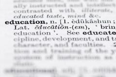 Définition d'éducation en dictionnaire anglais. Images stock