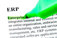 Définition d'ERP mise en valeur en vert Images libres de droits