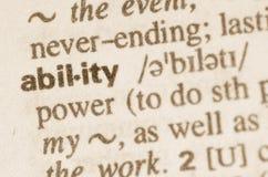 Définition de dictionnaire de capacité de mot photos libres de droits