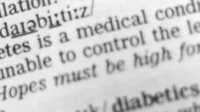 Définition de dictionnaire - diabète banque de vidéos