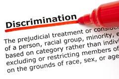 Définition de discrimination Photos libres de droits