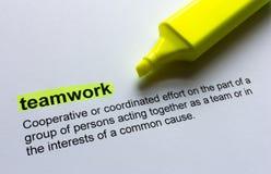 Définition de travail d'équipe, accentuée en couleurs Image stock