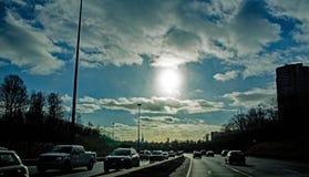 Défunt jour Sun sur Don Valley Parkway photos libres de droits