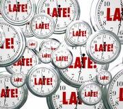 Défunt Word synchronise l'alarme en retard tardive volante en retard Photographie stock libre de droits
