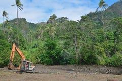 Dégagement de forêt ou étant noté en bas d'en raison du développement dans le pays du tiers monde tropical photos libres de droits