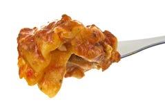 Dégagement de lasagne sur la fourchette photo libre de droits