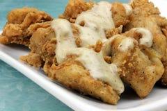 Dégagements du poulet de JIM avec de la sauce à moutarde de miel Image libre de droits