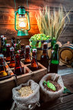 Dégustation de la bière maison-brassée dans la cave image libre de droits