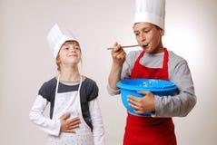 Dégustation de la pâte lisse Photo stock