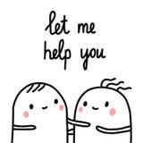 Déjeme ayudarle las melcochas tristes del ejemplo dos exhaustos de la mano que ayudan para los artículos que los libros imprimen  ilustración del vector