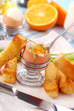 Déjeuner avec l'oeuf soft-boiled Photographie stock