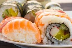 Déjeuner avec le plat de sushi Photographie stock