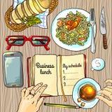 Déjeuner d'affaires illustration stock