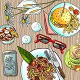 Déjeuner d'affaires illustration de vecteur