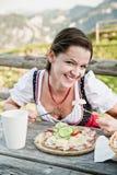 Déjeuner dans les Alpes Photos libres de droits