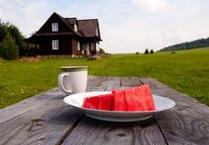 Déjeuner de pastèque dans la campagne Image libre de droits
