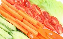 Déjeuner de régime, tomates, salade de concombre photo stock