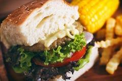 Déjeuner réglé d'hamburger Photo stock