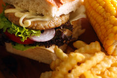 Déjeuner réglé d'hamburger Photos libres de droits