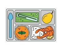 Déjeuner sur un plateau dans la ligne style Images libres de droits