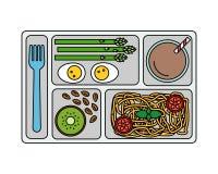 Déjeuner sur un plateau dans la ligne style Photo stock