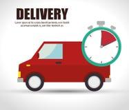 délai de livraison de camion van icon rouge Image libre de droits