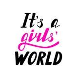 Délas a letras escritas el ` s un mundo de las muchachas Imágenes de archivo libres de regalías