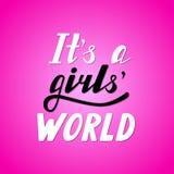Délas a letras escritas s un mundo de las muchachas Imagenes de archivo