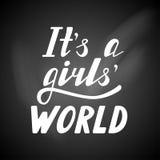 Délas a letras escritas s un mundo de las muchachas Fotos de archivo libres de regalías