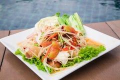 Délicieux épicé de papaye de cuisine thaïe verte de salade Image stock
