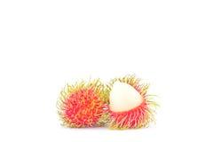 Délicieux doux de ramboutan frais sur la nourriture saine de fruit tropical de ramboutan de fond blanc Image libre de droits