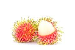délicieux doux de ramboutan sur la nourriture saine de fruit tropical de ramboutan de fond blanc Photos libres de droits