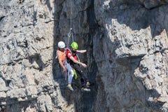 Délivrance dans la montagne des dolomites, Italie images libres de droits