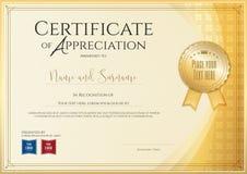 Délivrez un certificat le calibre pour l'accomplissement, l'appréciation ou l'achèvement illustration libre de droits