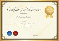Délivrez un certificat le calibre pour l'accomplissement, l'appréciation ou l'achèvement Photos libres de droits