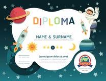 Délivrez un certificat le diplôme d'enfants, CCB de l'espace de disposition de calibre de jardin d'enfants illustration stock