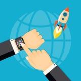 Démarrage d'entreprise avec la montre intelligente illustration stock