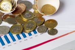 Démarrage d'investissement illustré avec les pièces de monnaie, la coquille d'oeufs, et le diagramme de progrès Image stock