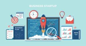 Démarrage de projet d'affaires, planification financière, idée, stratégie, gestion, réalisation et succès Lancement de Rocket d'o illustration stock