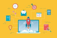 démarrage du projet 10Business, planification financière, processus de développement d'idée, stratégie, gestion, réalisation, lan illustration stock