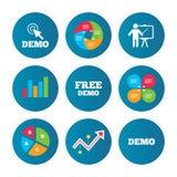 Démo avec l'icône de curseur Panneau d'affichage de présentation Photo stock