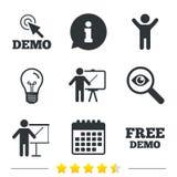 Démo avec l'icône de curseur Panneau d'affichage de présentation Photos libres de droits