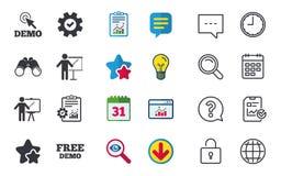 Démo avec l'icône de curseur Panneau d'affichage de présentation Photo libre de droits